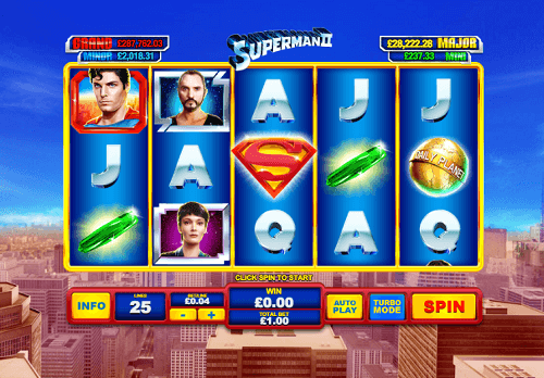 win real cash with the superman II pokies game