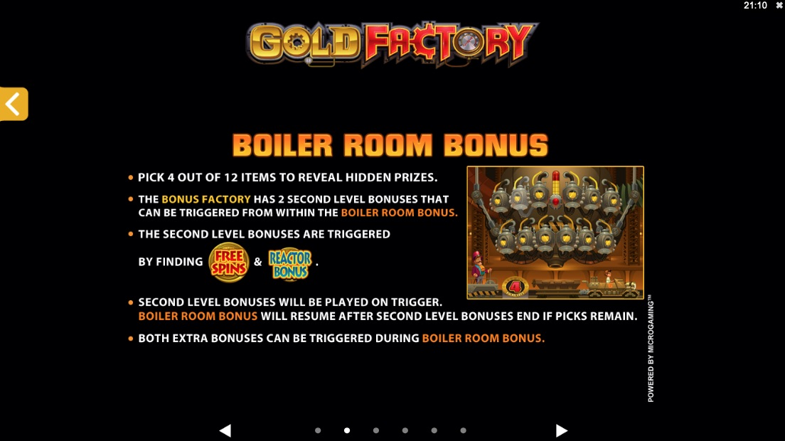 gold factory bonuses