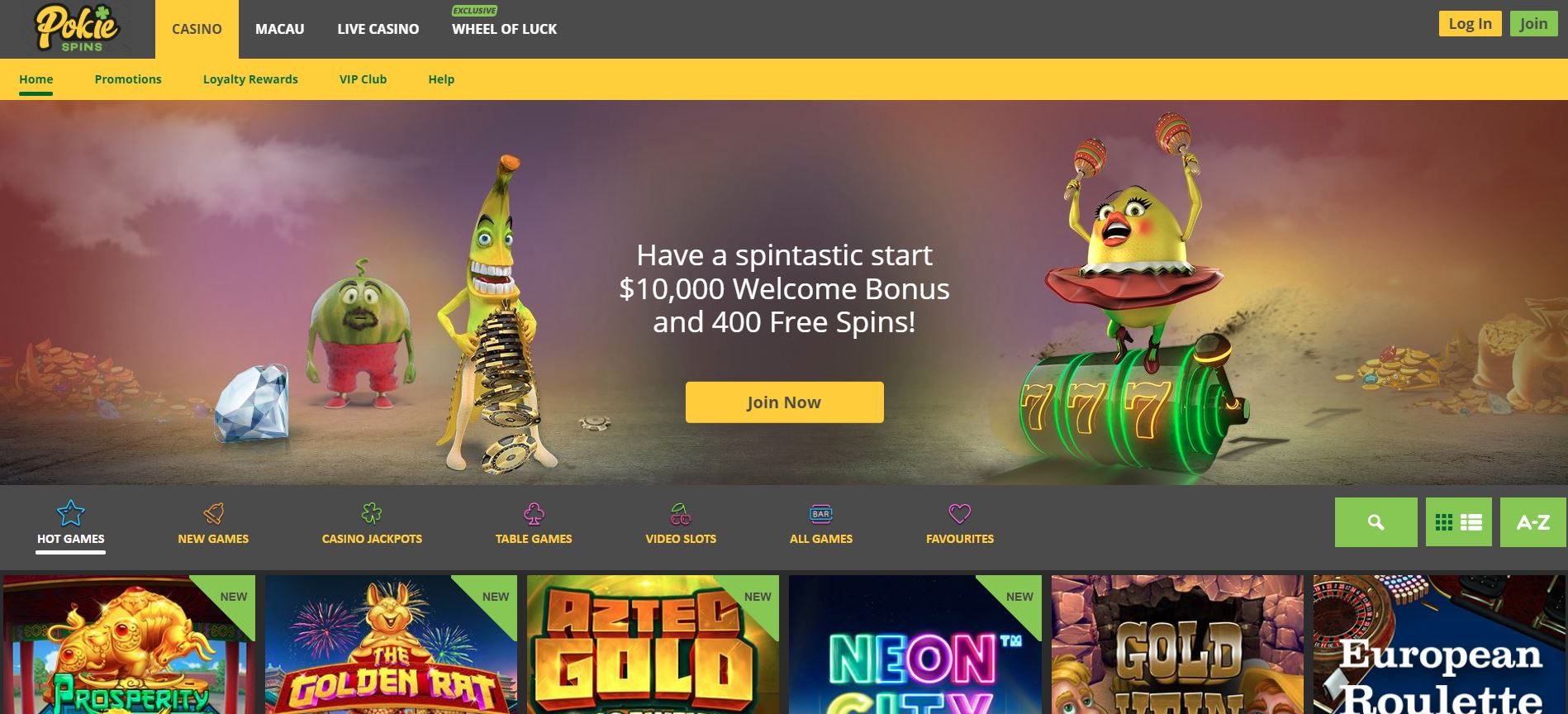 Pokie Spins home page